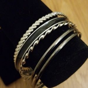 Vintage metal silver bangle bracelet set